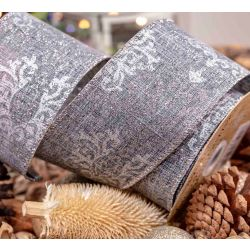 Grey Textured Wire Edged Ribbon with silver glitter scroll Design 63mm x 10yrds