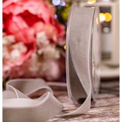 Velvet Ribbon in Light Grey - 25mm x 9.5m