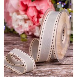 25mm Grey Vintage Stitched Ribbon By Berisfords Ribbons