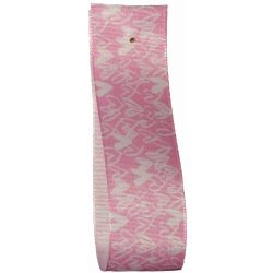 Pink Heart Print Taffeta Ribbon 25mm