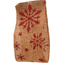 Hessian Ribbon With red glitter snowflake design