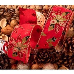 Holly & Poinsettia Velvet Christmas Ribbon 63mm x 10yrds