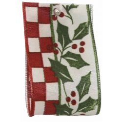 Holly & Berry Design In Red 40mm x 20m