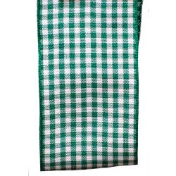 Gingham Ribbon By Berisfords in Hunter Green (Colour 455) - available in 5mm - 40mm widths