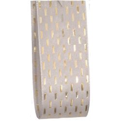 Bridal White Taffeta Ribbon With Gold Stitching