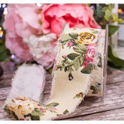50mm x 10m Frayed Edged Ivory & Rose Design Burlap Ribbon