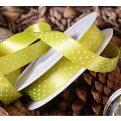15mm Lemon Grass Green Micro Dot Ribbon