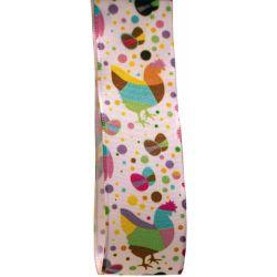 25mm x 20m Wire Edged Taffeta Ribbon With Multi Coloured Chicken Print