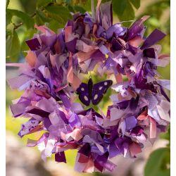 Purple Butterfly Ribbon Wreath Kit With Glass Butterfly Light Catcher