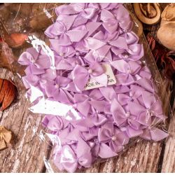 100 Lilac Satin Cross Over Bows With Pearl Centre