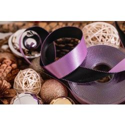 Lilac and black satin ribbon
