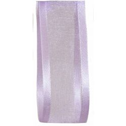25mm wide lilac satin edged sheer ribbon