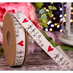 family ribbon with love heart 15mm x 20m