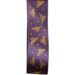 25mm Satin Ribbon In Mauve With Bee Design
