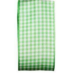 Gingham Ribbon By Berisfords in Meadow Green (Colour 664) - available in 5mm - 40mm widths