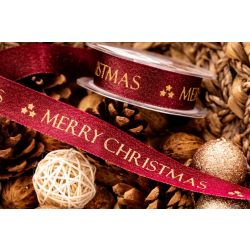 Merry Christmas Ribbon In Burgundy and gold