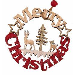 Wooden Merry Christmas Plaque With Reindeer