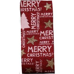 Merry Christmas Ribbon Cranberry Hessian Style 38mm x 20m