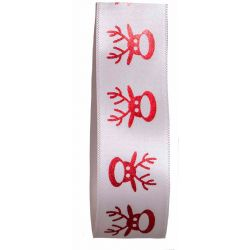 Christmas Ribbon Reindeer Print On White Ribbon -