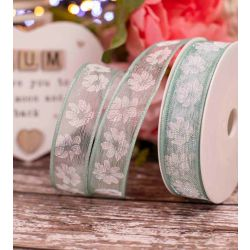 Mint Translucent Ribbon With White Floral Print 25mm x 20m