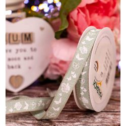15mm Mint Linen Look Ribbon With Butterfly Print