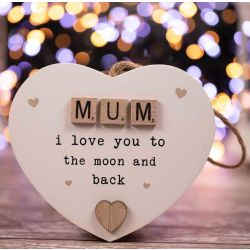 Wooden Heart Mum I love you to the moon and back