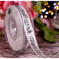 15mm x20m White Double Satin Ribbon With Musical Note Print