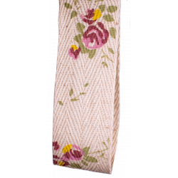 25mm herringbone tape in natural with pink rose print