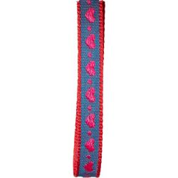 10mm woven blue ribbon with woven red hearts