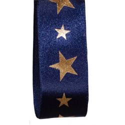 Berisfords 25mm Wide Navy and Gold Starlight Christmas Ribbon