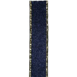 Metallic Gold Edged Navy Ribbon in 3mm, 7mm,15mm, 25mm widths