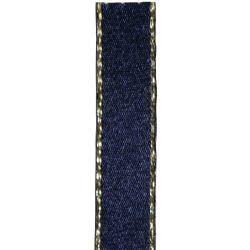 Metallic Gold Edged Navy Ribbon in 3mm, 7mm,15mm, 25mm widths