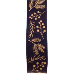 Berry and twig design in gold on this navy blue ribbon
