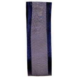 25mm Navy Satin Edged Sheer Ribbon