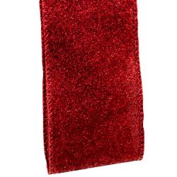 new dark red glitter ribbon with wired edge 63mm x 9m