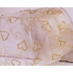 50mm Wired Ivory Sheer Ribbon With Gold Glitter Hearts