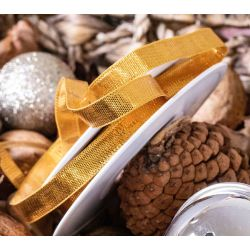 10mm Old Gold Metallic Style Ribbon By Berisfords