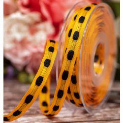 10mm x 10m Orange Taffeta Ribbon With Black Threaded Centre By Berisfords Ribbons