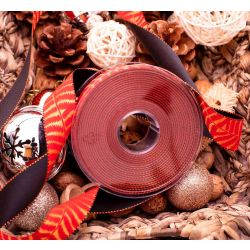 15mm wide red and gold satin fern design ribbon