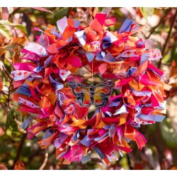 Red and Orange Butterfly Themed Ribbon Wreath Kit
