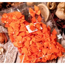100 Satin Orange Bows With Pearl Centre
