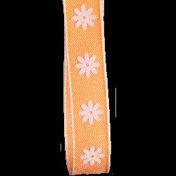 15mm Orange Daisy Print Ribbon