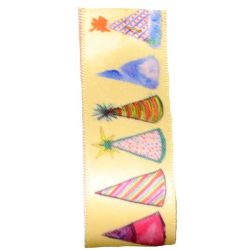 Party Hats Ribbon in Yellow 25mm x 20m