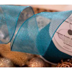 63mm Metallic stripe mesh ribbon in peacock blue
