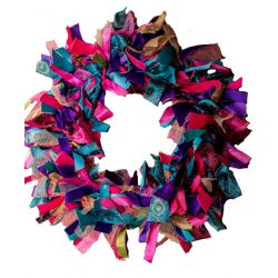 peacock ribbon wreath kit
