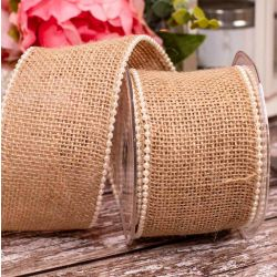 50mm Wired Edged and Pearl Edged Hessian Ribbon
