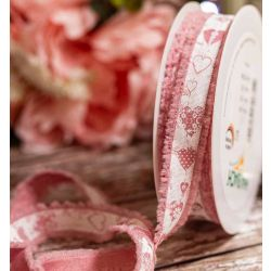18mm x 20m Frayed Edged Dusky Pink Ribbon With Heart Print