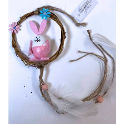 Pink Bunny Wreath With Tails