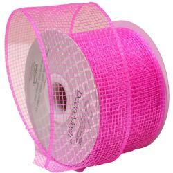 Bright Pink Deco Mesh Ribbon Shade