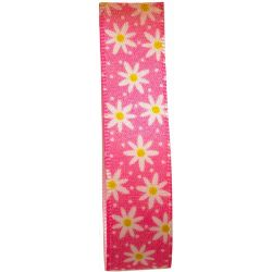 Daisy Chain Ribbon in Pink by Berisford Ribbons - 15mm